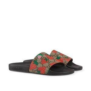 GG Gucci Strawberry slide sandal 8